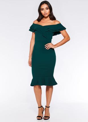 Платье миди зеленое  bardot от quiz1 фото
