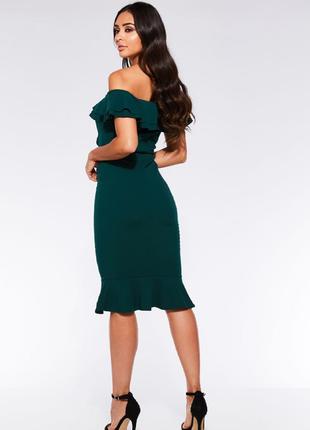 Платье миди зеленое  bardot от quiz2 фото