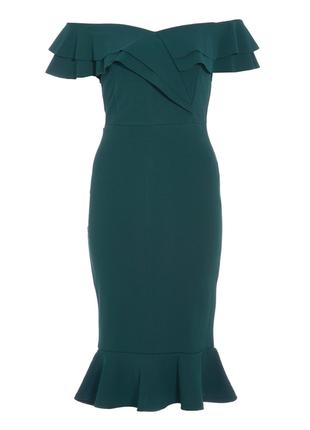 Платье миди зеленое  bardot от quiz3 фото