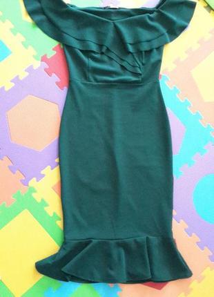 Платье миди зеленое  bardot от quiz4 фото
