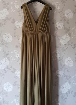 Шикарный шифоновый комбинезон цвета хаки,комбинезон в пол с вырезом,вечернее платье
