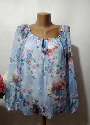 Двухслойная блузка в цветочный принт