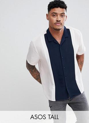 Рубашка с контрастной отделкой asos,р-р xxl