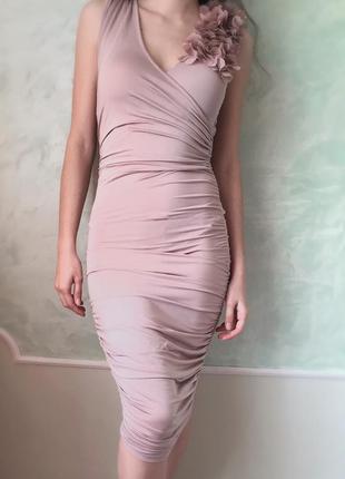 Стильное платье tally weijl р. xs/s нюд  нарядное вечернее