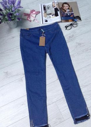 Стрейчевые джинсы с замочками снизу р.l/xl(новые!)