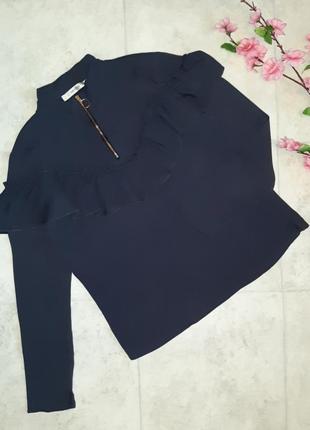 Фирменная блуза с воланом лонгслив gestuz, размер 44 - 46