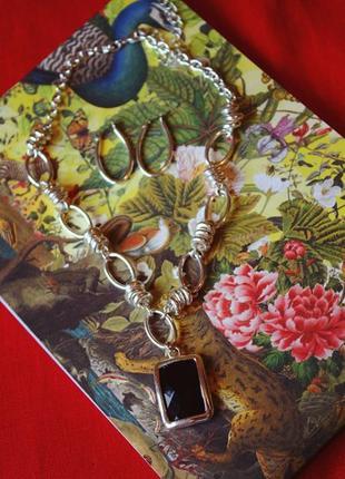 Распродажа! набор украшений серьши и кулон на оригинальной цепочке с черным камнем