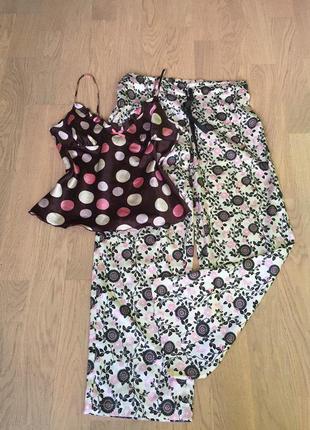 Маечка бельевая от marks & spencer +атласные штаники от george одежда для дома