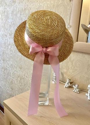 Шляпа канотье с розовой лентой