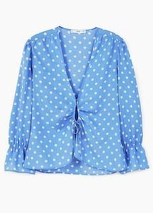 1+1=3 фирменная нежно-голубая блуза в горошек mango, размер 42 - 44