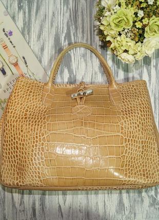 Longchamp. кожа. оригинал. красивая светлая сумка1 фото