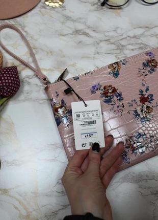 Обнова! клатч сумка эко кожа крокодила на ручке пудра флористический принт новый5 фото