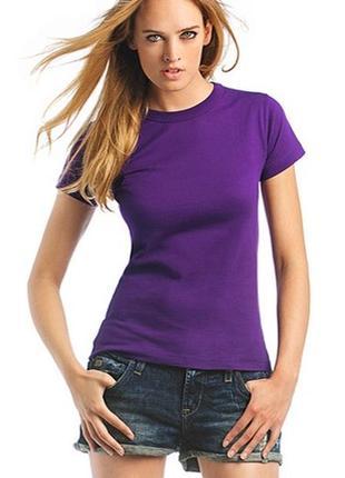 Базовая однотонная фиолетовая футболка 100% коттон размеры испания