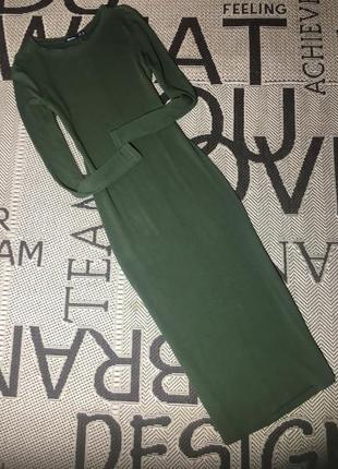 Платье-миди зелёное от bershka