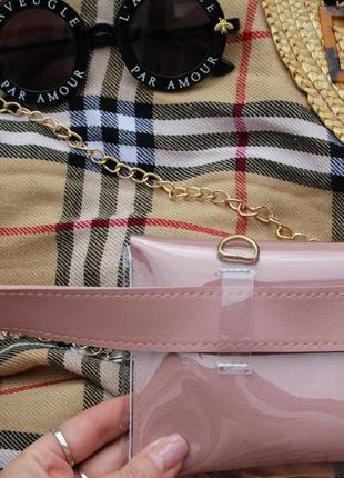 Обнова! сумка поясная кроссбоди 2 типа ручки прозрачная пыльно розовая пудра8 фото