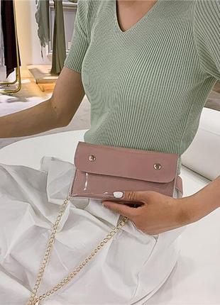 Обнова! сумка поясная кроссбоди 2 типа ручки прозрачная пыльно розовая пудра1 фото