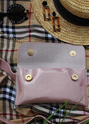 Обнова! сумка поясная кроссбоди 2 типа ручки прозрачная пыльно розовая пудра6 фото