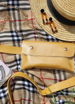 Обнова! сумка поясная кроссбоди 2 типа ручки прозрачная горчичная4 фото