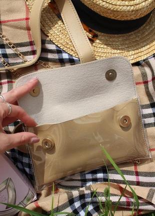 Обнова! сумка поясная кроссбоди 2 типа ручки прозрачная бежевая5 фото