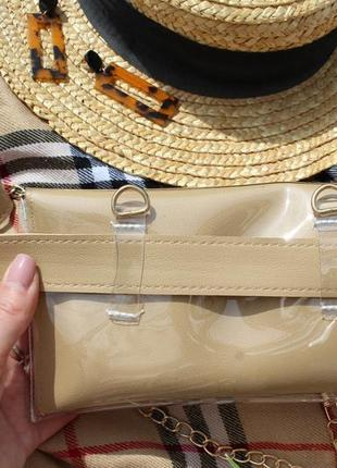 Обнова! сумка поясная кроссбоди 2 типа ручки прозрачная бежевая6 фото