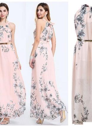 Длинное вечернее платье с цветочным принтом