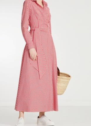 Красное миди платье cardo клетка виши