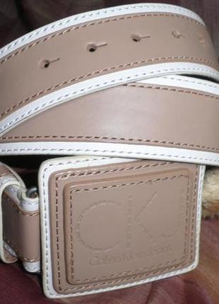 Красивый удобный прошитый двух цветный ремень calvin klein мягкая кожа 85см качество
