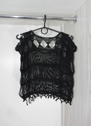 Кружевной вязанй топ из ниток блуза от tally weijl