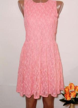 Sale милое кружевное нарядное розовое платье сарафан  с гипюровым кружевом р. s - м