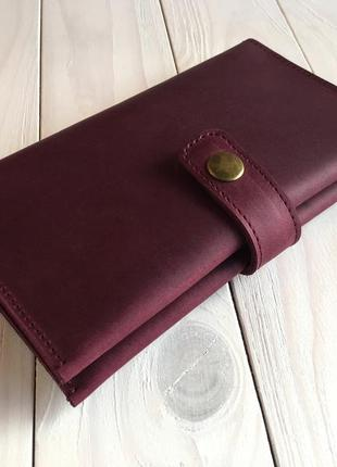 Женский кошелек из натуральной кожи goose™ g0026 марсала ручной работы2 фото