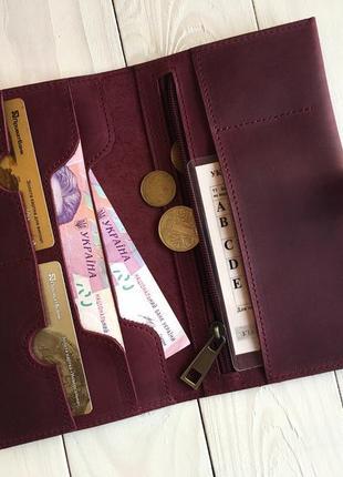 Женский кошелек из натуральной кожи goose™ g0026 марсала ручной работы3 фото