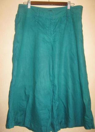 Волшебного бирюзового цвета кюлоты штаны из льня