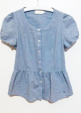 Короткая голубая блуза / блузка