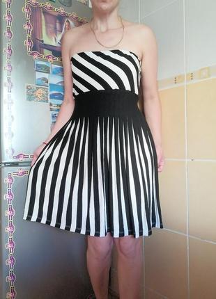 Платье в полоску, вискоза, р л