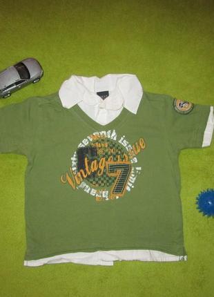 Хлопковая футболка-рубашка на 9-12 мес. рост 80