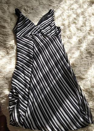 Шифоновое платье в полоску, размер 48