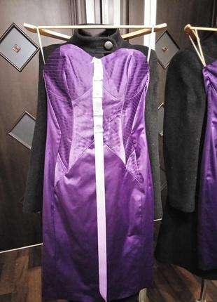 Эксклюзивное платье с корсетным выстроченным лифом атласное