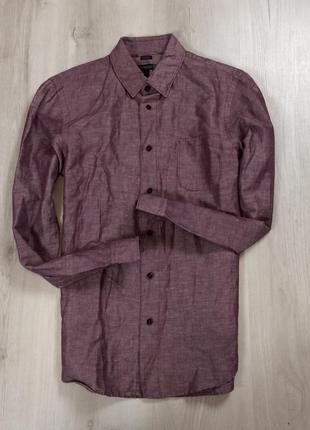 S-m льняная приталенная рубашка quiksilver квиксильвер лен мужская