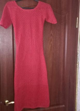 Эксклюзивное ажурное красное вязаное платье