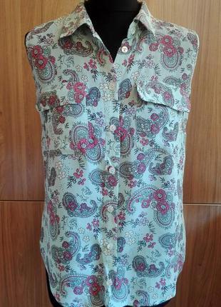 Легкая блуза под шелк в цветочный принт с карманами, 100% вискоза