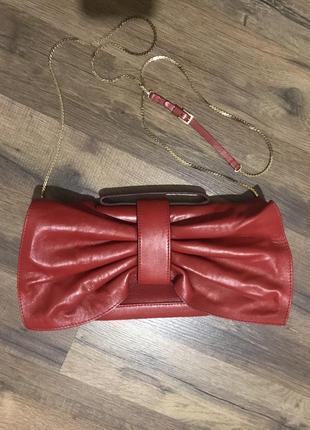 Брендовая сумочка, клатч, valentino garavani, оригинал. красная сумка