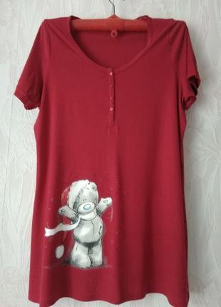 Трикотажное платье с принтом мишкой тедди и стразами