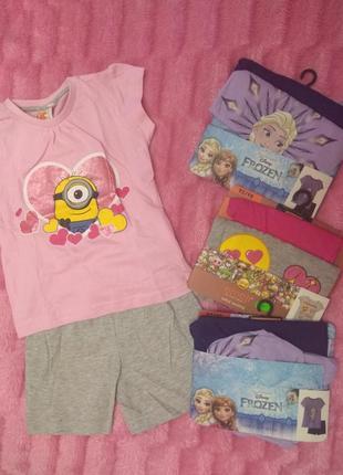 Комплект футболка+шорты для девочки disney миньоны, ельза, смайлик