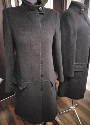 Пальто из шерсти в стиле платье с заниженной линией