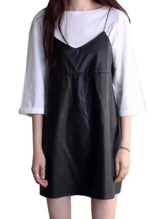 Черное платье сарафан эко кожа на флисе