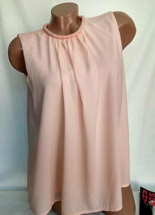 Шифоновый нежно - персиковый топ блуза  / декор, спинка на пуговке р. xs , от vero moda