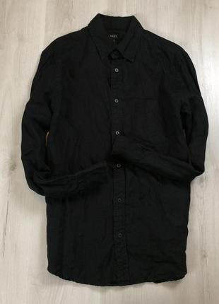 М льняная приталенная рубашка next черная лен мужская некст