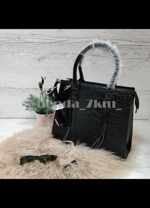 Деловая женская сумка трапециевидной формы с принтом под крокодила 207 черная