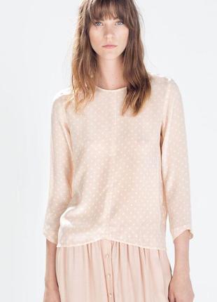 Нежная бежевая блуза блузка шёлковая 100%шелк zara