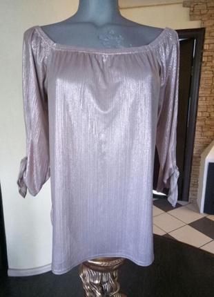 Цена снижена!《розовое золото》трендовая,легчайшая блуза с открытыми плечами